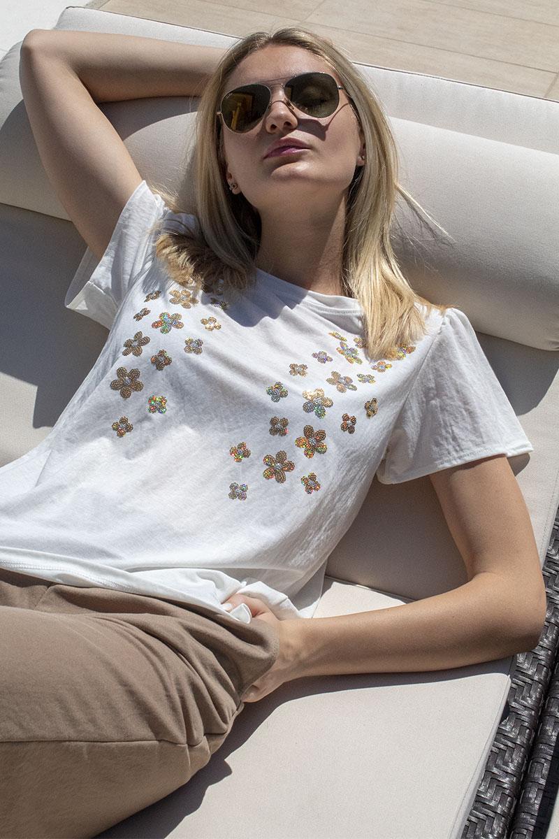 blusa ricamo fiorellini paillettes donna abbigliamento