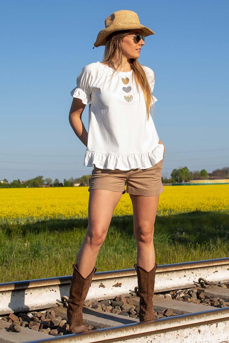 look casual blusa cotone frappe con shorts