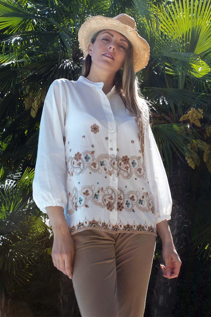camicia sangallo cotone abbigliamento donna