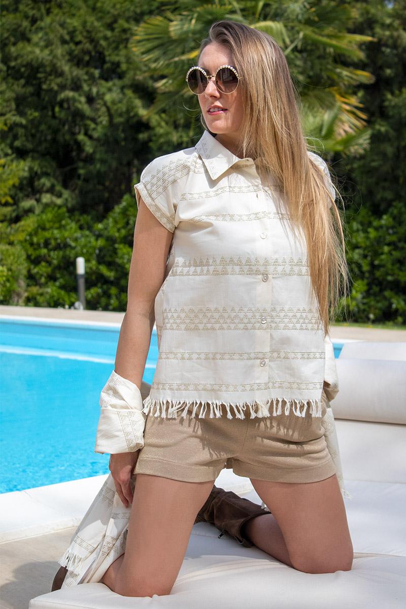 camicietta stile Perù con frange abbigliamento donna