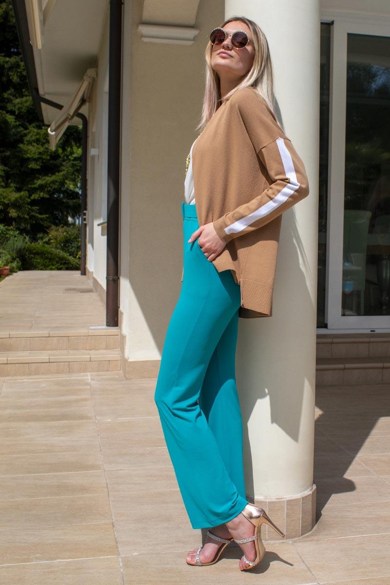 Abbigliamento donna cardigan pantalone a zampa