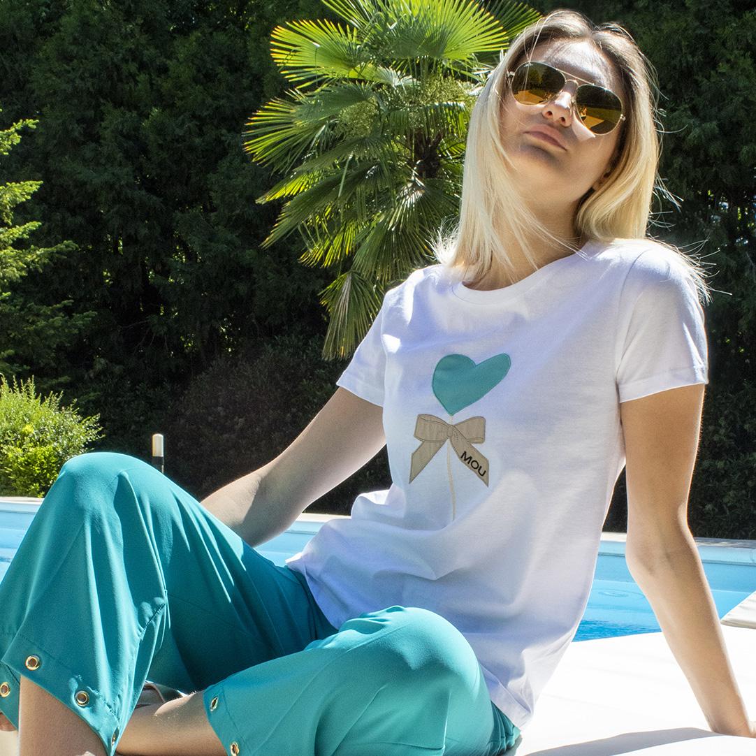 t-shirt cotone estate ricamo fiocco