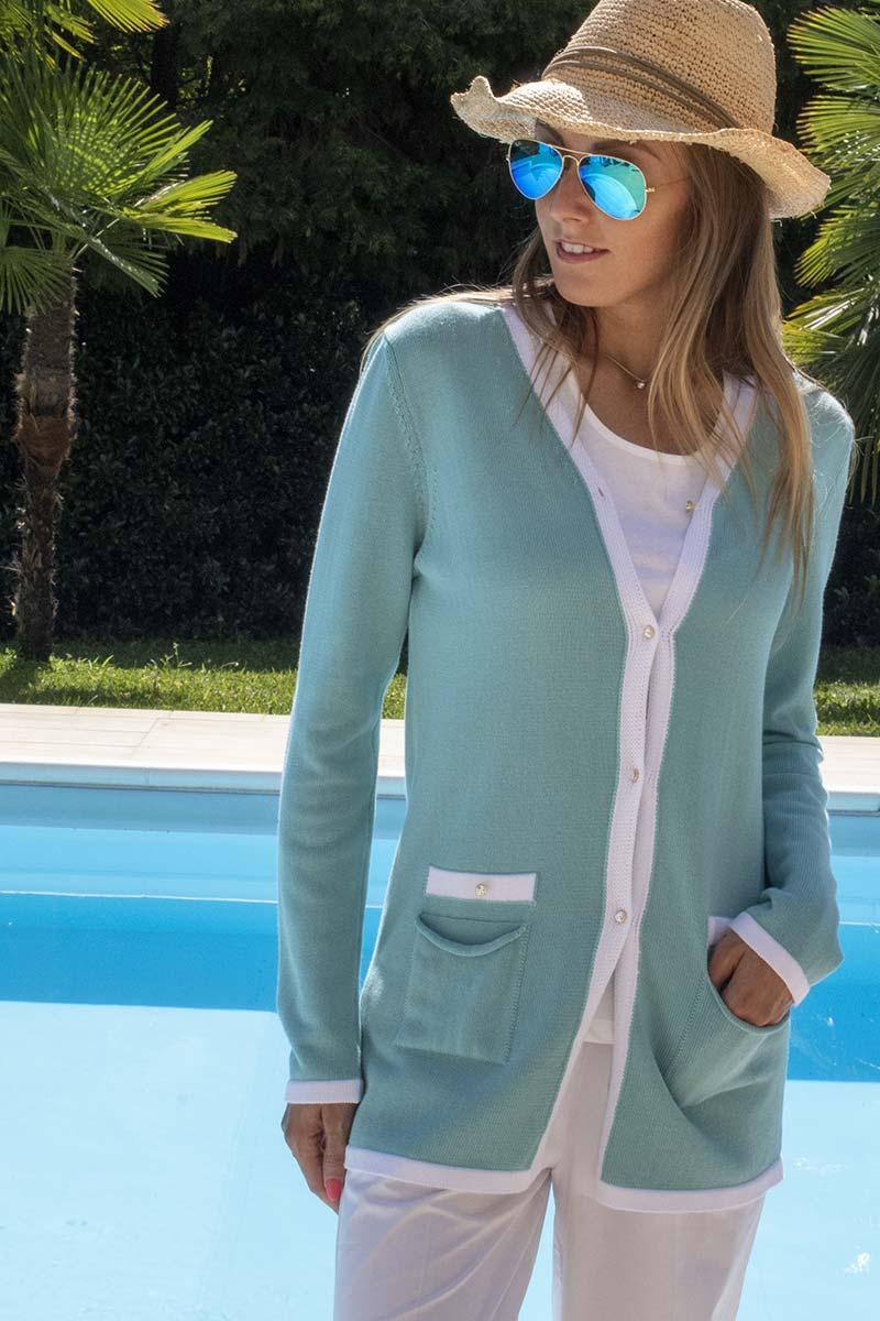giacca lunga cotone contrasto