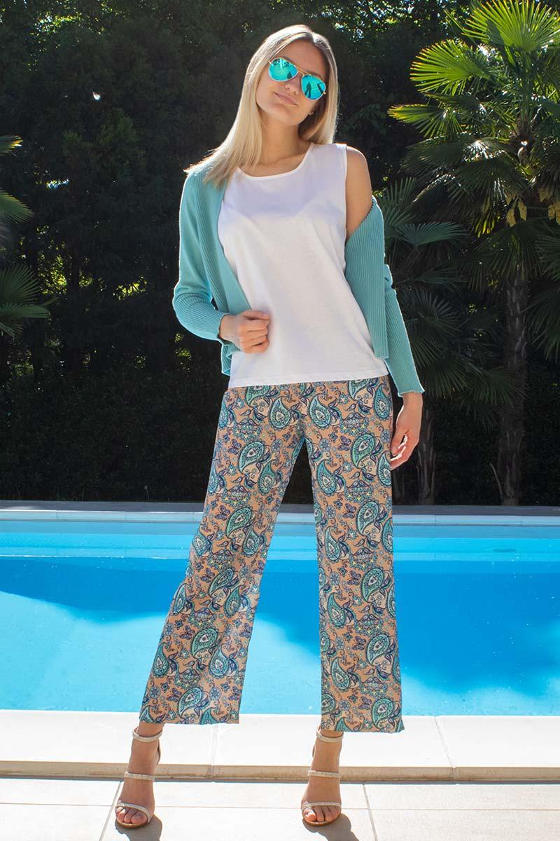 Outfit canotta catone pantalone stampa cachemire
