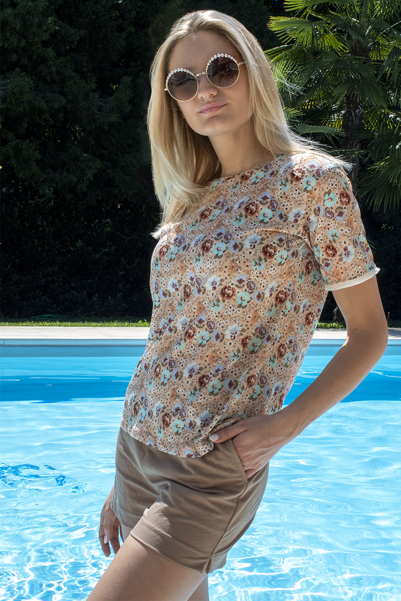 t-shirt stampa fiorellini donna mou Ellalu