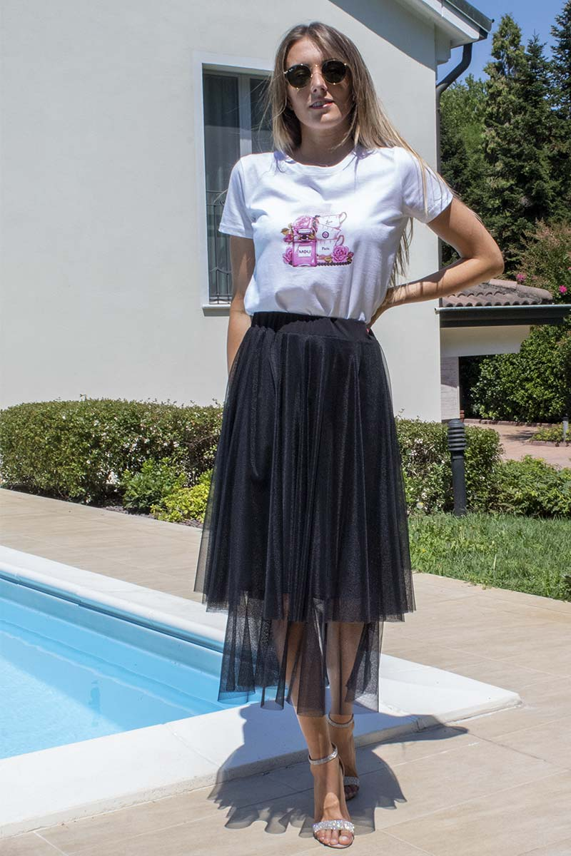 completo t-shirt casual gonna elegante in tulle