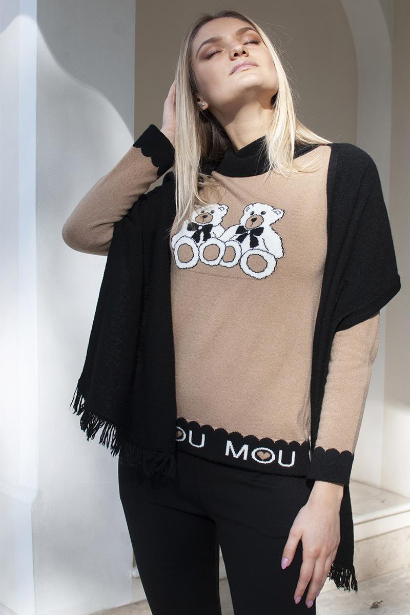 maglia intarsio teddy bear mou