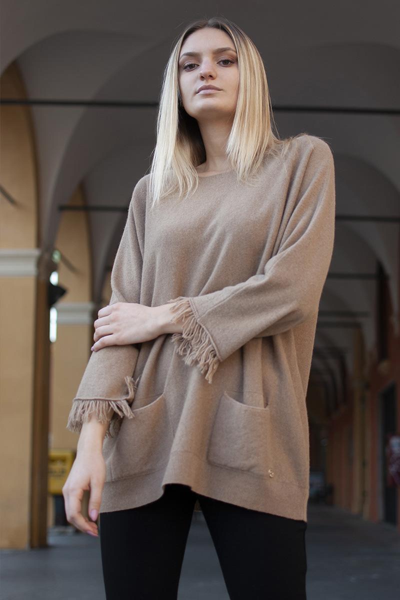 maglia poncho frange abbigliamento donna